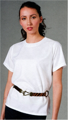 Ladies Short Sleeve Jewel Neck Blouse