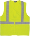 ANSI Class 2 Ecomony Zipper Solid Woven Vest with 3 Pockets