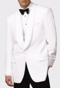 Men's White Polyester Dinner Jacket