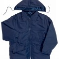 Navy Nylon Parka with Zip-Off Hood