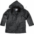 Black Nylon Parka with Zip-Off Hood & Pile Collar
