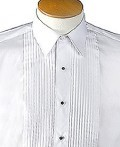 Ladies Laydown Collar Tuxedo Shirt w/1/4 Pleats