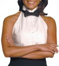Ladies Wing Collar Halter Tuxedo Shirt w/1/4