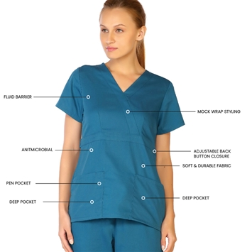 Ladies Mock Wrap Scrub Top