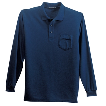Men's Silk Touch Pique Long Sleeve Polo w/pocket