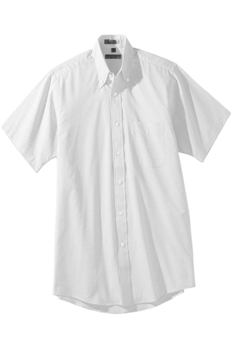 Men's Short Sleeve Pinpoint Shirt-Button Collar